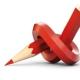 Rood potlood met een knoop erin